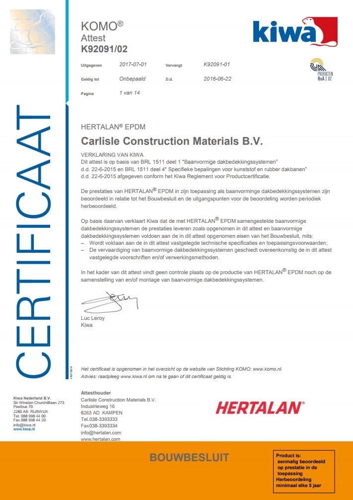 KOMO Certificate HERTALAN®